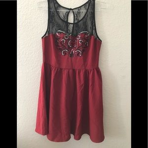 Forever 21 Women's Dress Sheer Lace on top Sz L